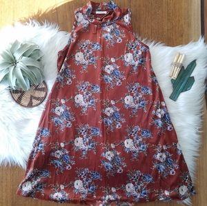 Velvet floral high neck swing dress